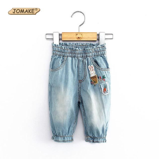 Calças de Brim Meninas verão Listrado Caráter Bezerro-Comprimento Do Bebê Meninas Moda Jeans Crianças Denim Calças Novas Casual Criança Crianças Calças de Brim