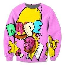 Echt AMERIKANISCHE UNS Größe 3D sublimationsdruck Crewneck Sweatshirts Coole Homer Lustige Karton streetwear plus größe