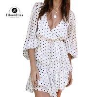 Sexy Глубокий v шеи платье Женщины Длинные фонарь рукавом осеннее платье Высокая талия в горошек белое платье femme