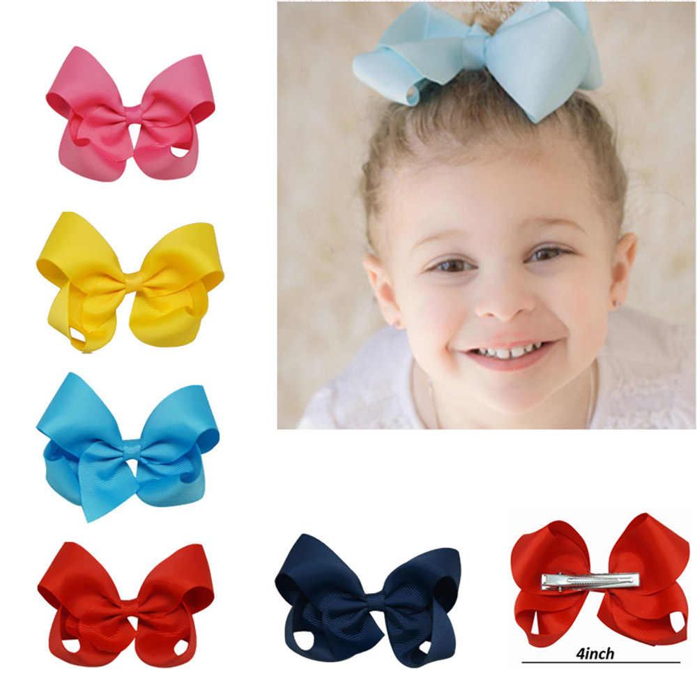 30 ピース/セット 4 インチ固体毛の弓クリップで女の子グログランリボン Hairbows 手作りヘアピン子供のためのヘアアクセサリー