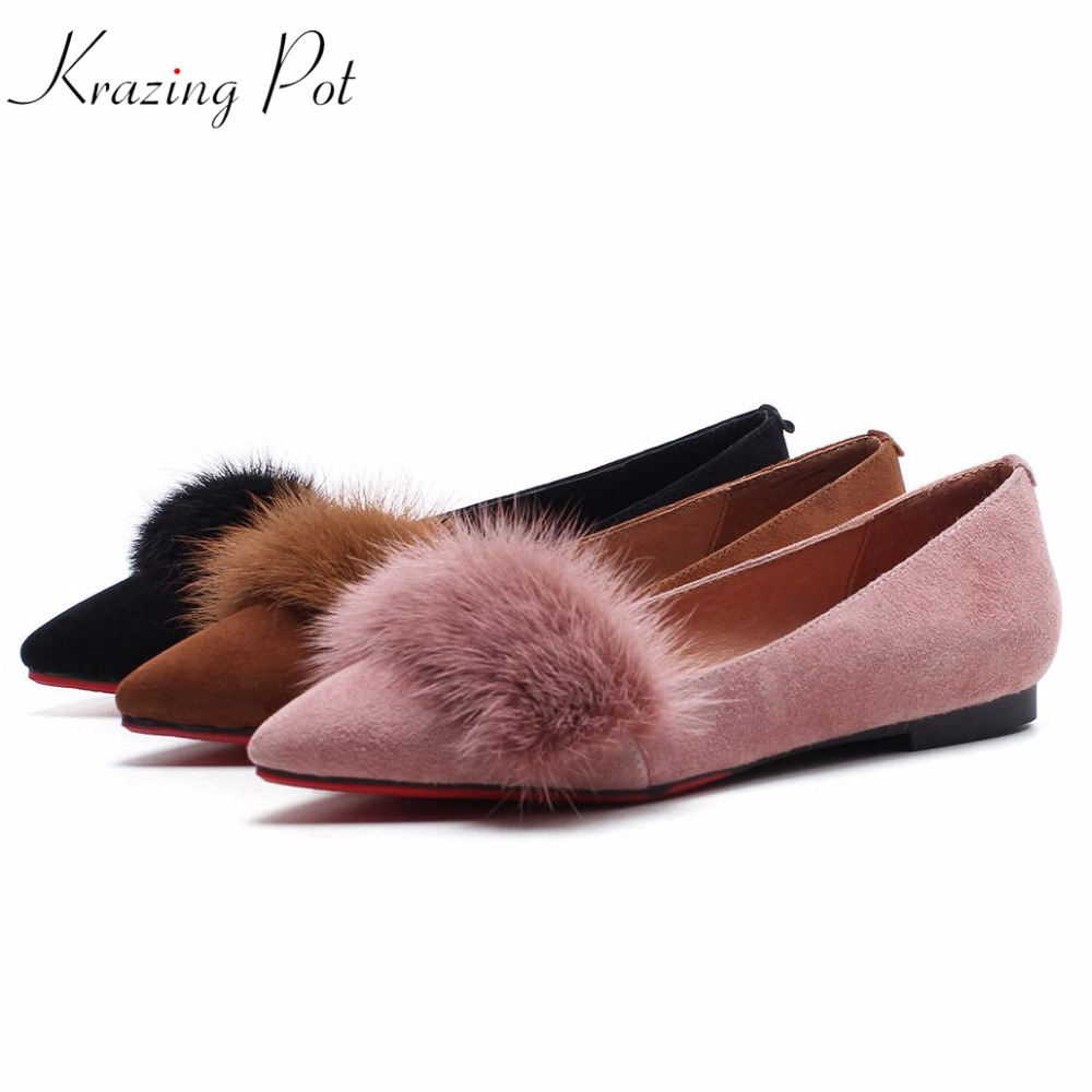Krazing pot 2018 sheep suede mink fur flats fashion superstar preppy style casual shoes pointed toe sweet cute women shoes L01 krazing pot sheep suede rabbit fur superstar preppy style bowtie casual shoes pointed toe flats sweet women outside slippers l71