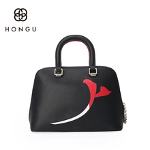 Hongu Light Luxury Genuine Leather Women Hit Color Flower Tote handbags Famous Brand Lady Shoulder Shell Killer Bag design louis