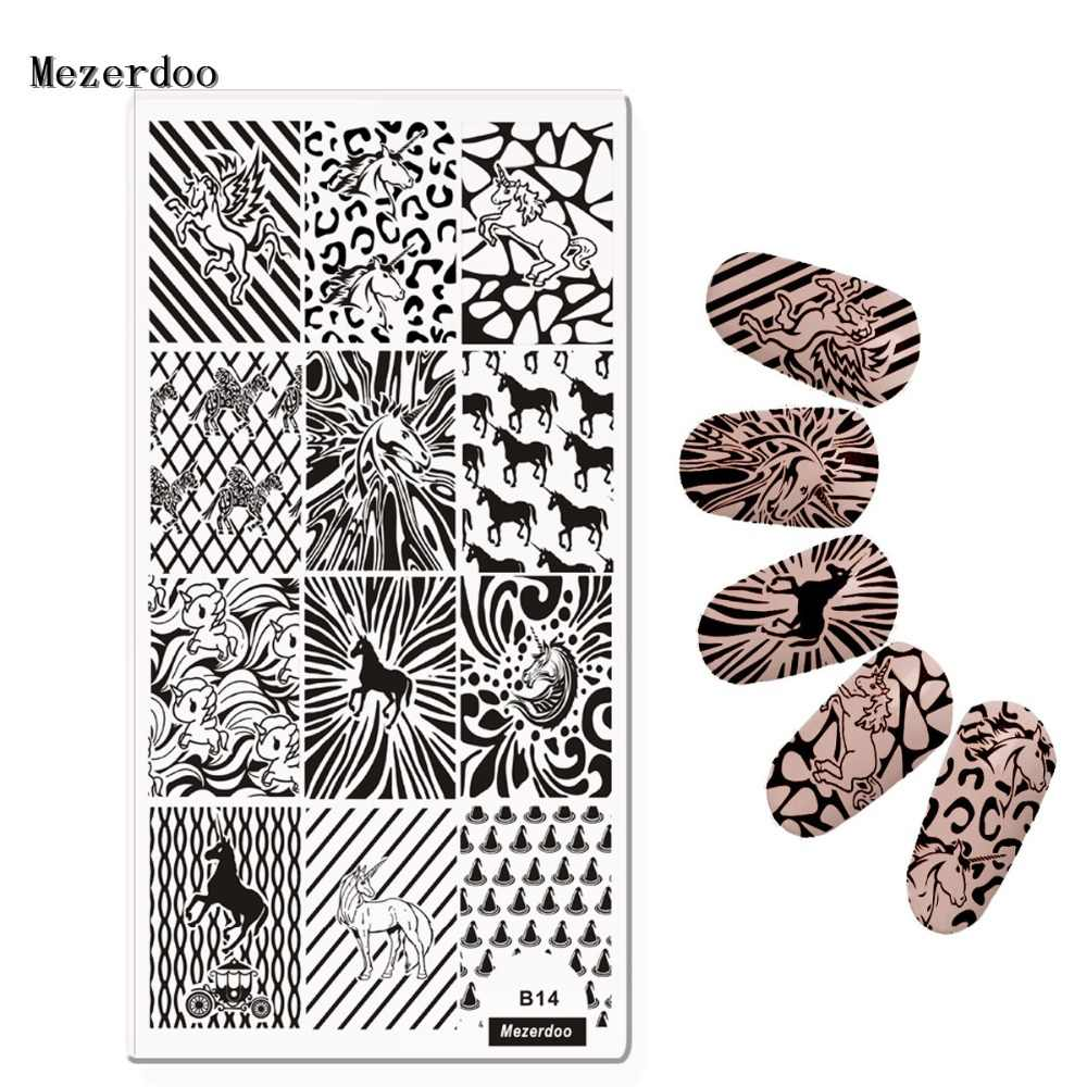 1Pc Rectangle Stamping Plate Unicorn Horse Leopard Origami Pattern Template Manicure Nail Art Plates Mezerdoo B14
