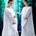 Maternity gown lace Dresses White Maternity Photography Props Dress pregnant women Pregnancy Dress Maternity Photo Props clothes