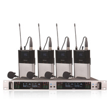 Professional Wireless Microphone System 409GT 4-Channel UHF Dynamic Professional 4 Headphones Collar Line Conference 500m 3 channel silent disco sound system headphones rf wireless headsets 20 folding headphones 1 transmitters