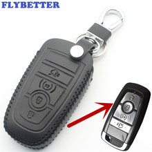 FLYBETTER Genuine Leather 4Button Remote Smart Key Case Cover For Ford Fusion/New Mondeo/Edge/Expedition