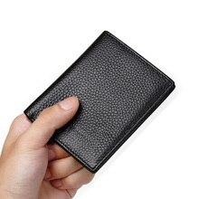 Минималистичный тонкий кошелек из натуральной кожи для мужчин и женщин, ультра тонкий мини маленький мужской женский кошелек, компактная сумка для денег