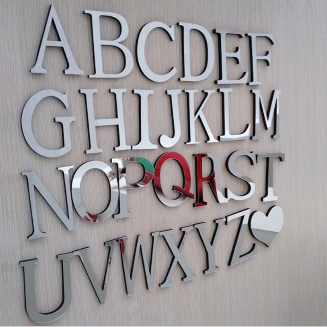 diy wedding love letters home decoration english letters mirror wall stickers alphabet home decor for wall