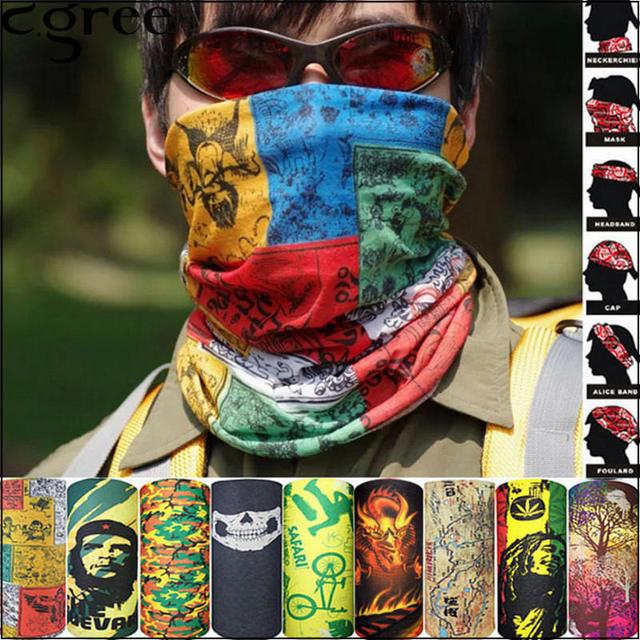 C.gree Neck Face Mask Bicycle Bike Motorcycle Camo Bandana Stretchable Tubular Headband Multi Scarf Tube Mask Cap