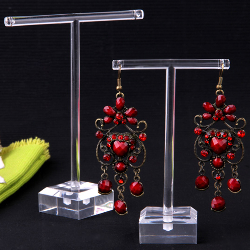 2pcs/pack Plastic Earrings Jewelry Display T Bar Stand Holder Storage Hanger Showcase Rack Jewelry Organizer