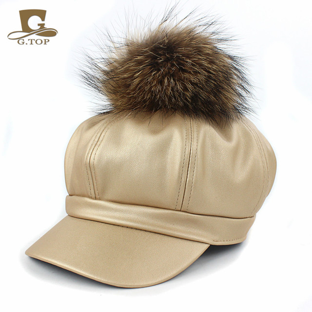 Women PU Leather Ascot Ivy Newsboy Berets Trucker Visor Peaked Cap Artist  Hat with king size 3840ba3ff71
