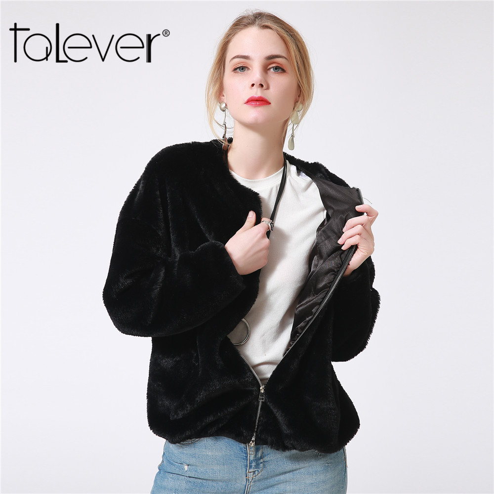 New Autumn Women Black Jacket Winter Female Zipper Pockets Faux Rabbit Fur Jacket 2018 Winter Plus Size S-4XL Warm Coat Talever