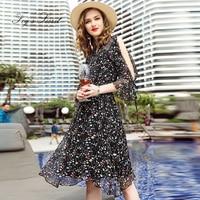 Brand Real Silk Dress For Female Women Print Silk Casual Lotus sleeve Plus size XXL XXXL Fashion European dress 2018 New style