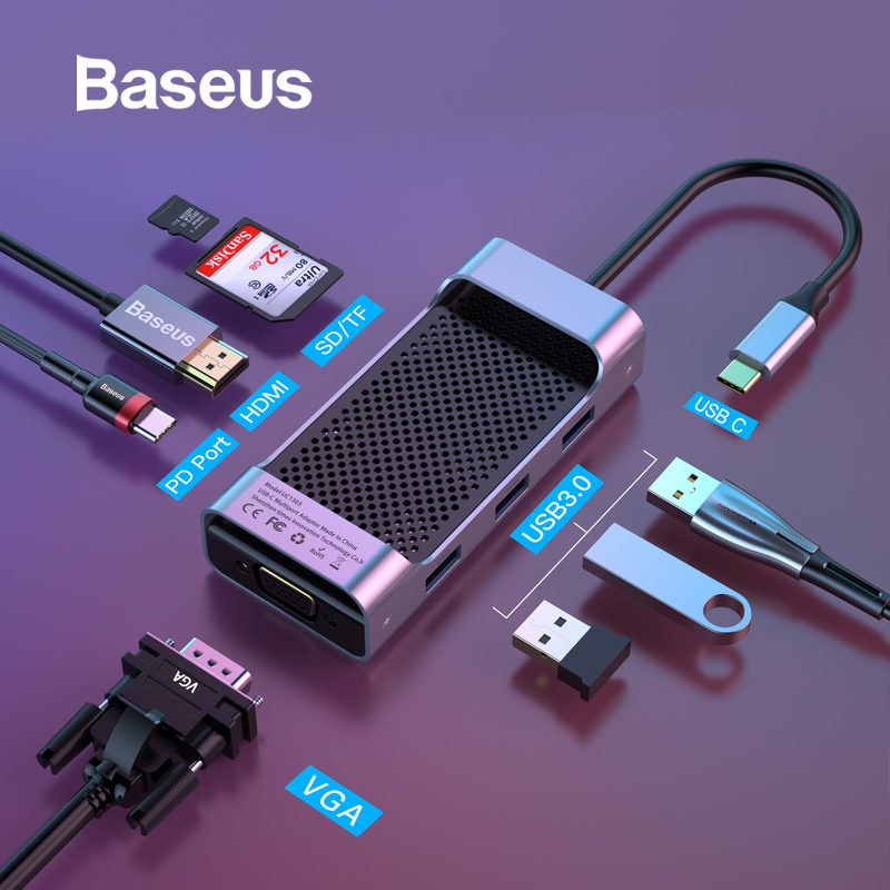 Moyeu de USB C Baseus vers USB 3.0 HUB HDMI RJ45 VGA répartiteur USB pour MacBook Pro/Air Type C HUB pour Huawei Mate 20 Pro Samsung S9 S10