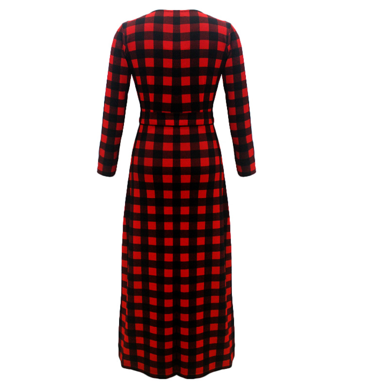3eaba931dd Plus Size 3XL 4XL 5XL 6XL Scottish Plaid Red Long Dress Long Sleeve O-neck  Simple A-line Tunic Print Dress Fashion Women Vestido