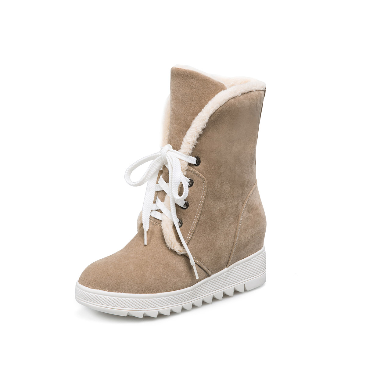 Brand New Sales Warm Winter Black Gray Women Ankle Snow Boots Fashion Lady Wedge Casual Shoes Lace up EHA66 Plus Big size 43 10
