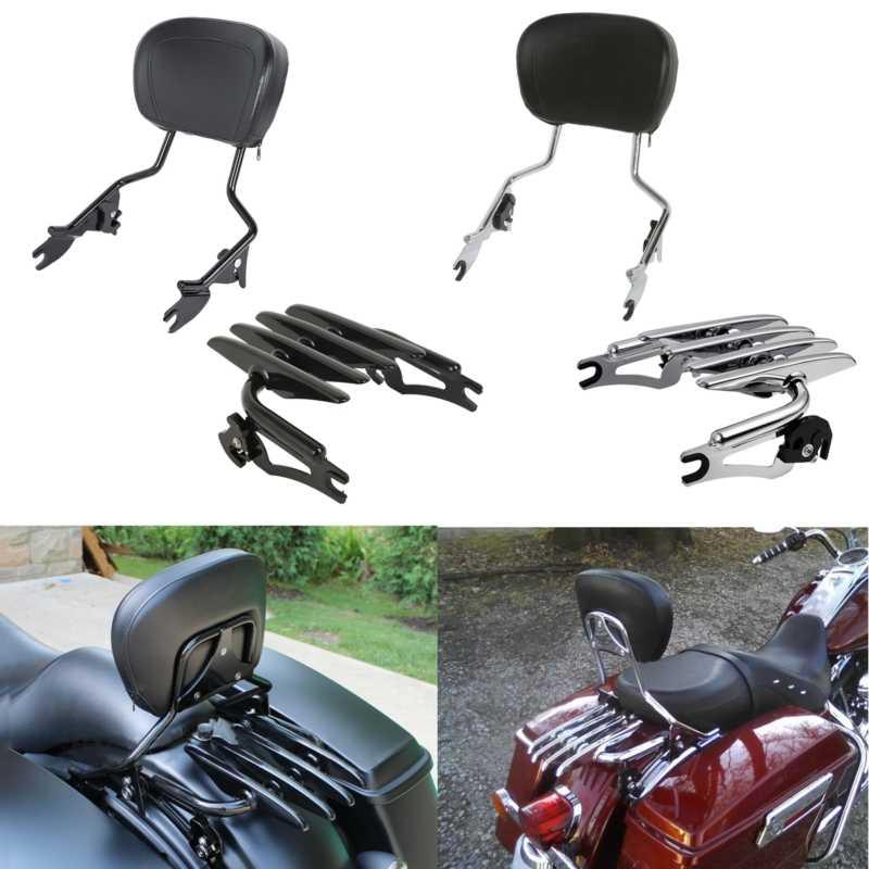 Motocicleta destacável encosto sissy barra rack de bagagem para harley touring road king electra glide rua flhx flht 09-19