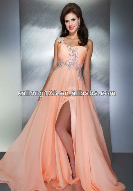 243d2f2ccaea3 Fitted Long Flowy Slit A-line Silhouette Beaded Ruched Bodice Peach Green Chiffon  Sweetheart One Shoulder Prom Dress