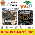960 P HD de 1.3MP wi-fi sem fio CCTV IP Network Camera Módulo Board com interface De Áudio, Onvif