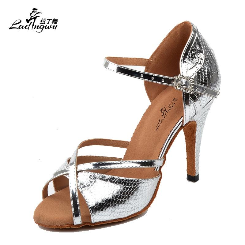 Ladingwu 2018 New Snake Texture PU Silver Shoes For Women Dance Shoes Ladies Latin Ballroom Salsa Dance Shoes Women Sandals