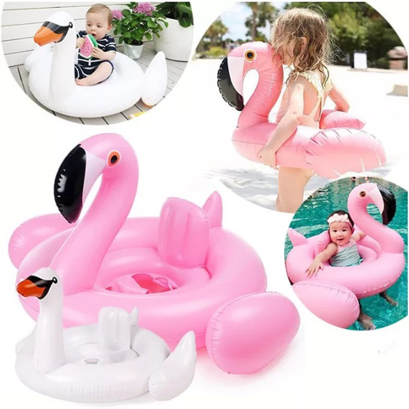 Summer Baby Pool Float Inflatable Swan Flamingo Swimming Float Baby Seat Float Water Fun Pool Toy Kids Swimming Ring Accessories
