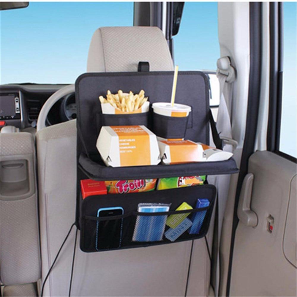 Waterproof Multi-Pockets Car Organizer Seat Back Storage Bag Auto Foldable Food Tray Table Mesh Pockets Drinks Holder Oxford