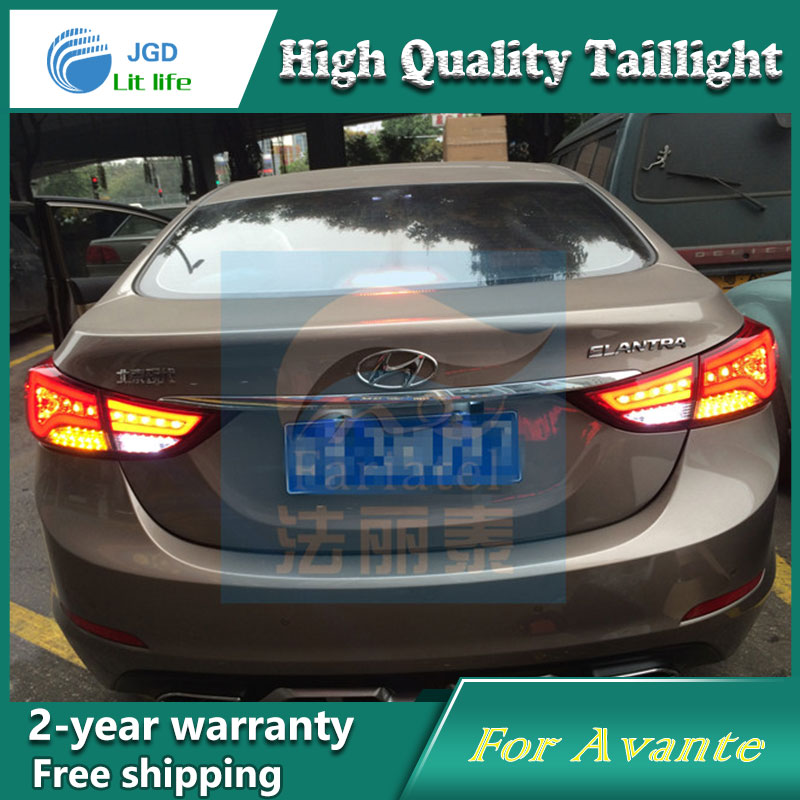 Car Styling Tail Lamp for Hyundai Elantra Tail Lights LED Tail Light Rear Lamp LED DRL+Brake+Park+Signal Stop Lamp car styling tail lamp for toyota corolla led tail light 2014 2016 new altis led rear lamp led drl brake park signal stop lamp