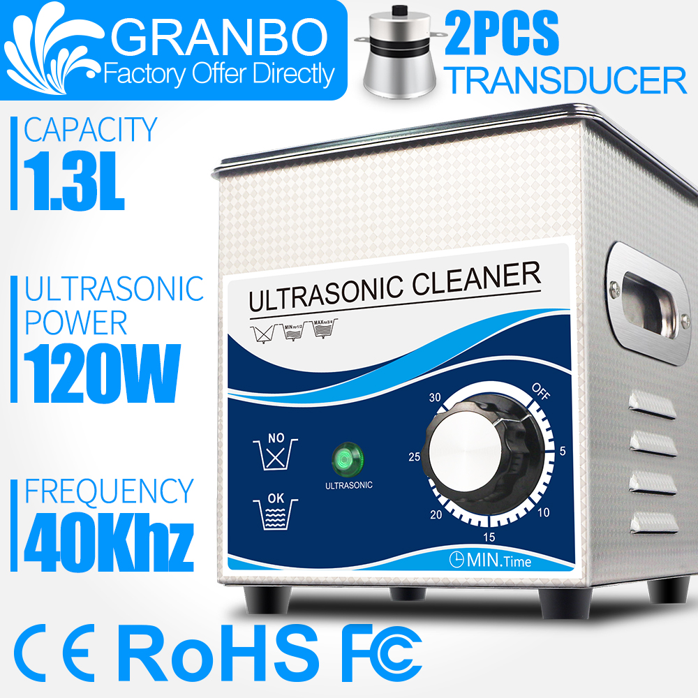 Granbo 1.3L 120W Ultrasonic Cleaner For Glasses Jewellery Watches Spare Part Oil Rust Injector Fuel Nozzle Spark Plug Cleaning