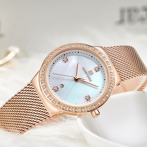 Image 4 - NAVIFORCE מותג יוקרה שעון נשים אופנה שמלת קוורץ שעון יד גבירותיי נירוסטה עמיד למים שעונים Relogio Feminino