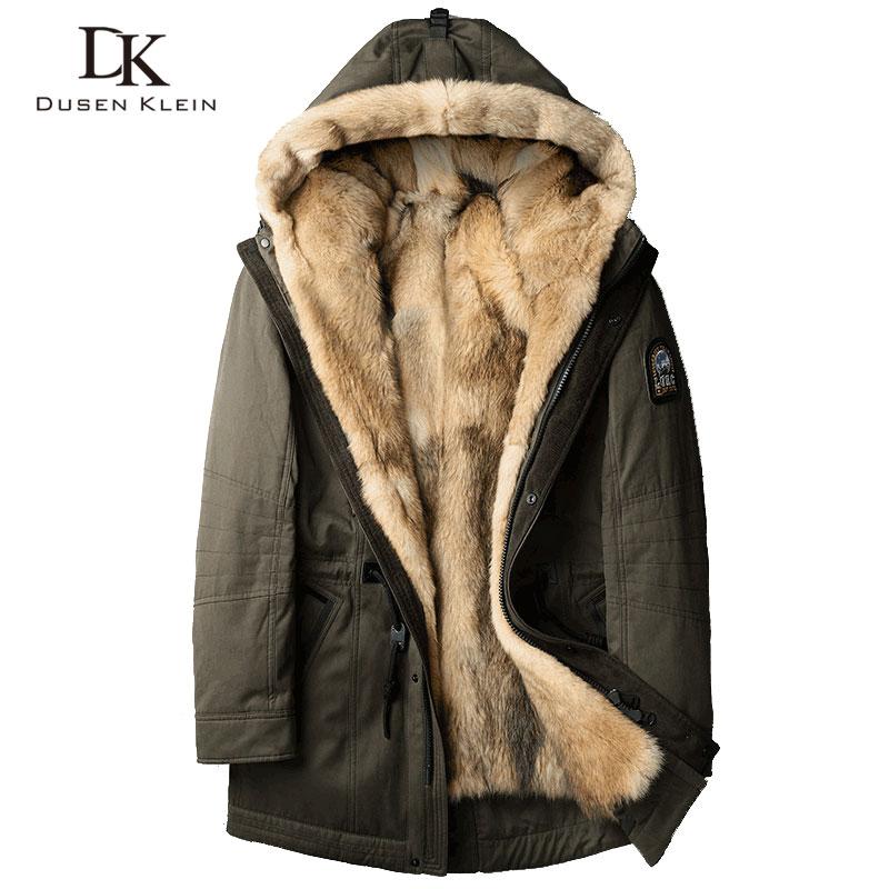 Волк мех для мужчин толстые Куртки длинные пальто дизайнер fashin путешествия для преодоления зимние теплые роскошные куртки с капюшоном 61E1125