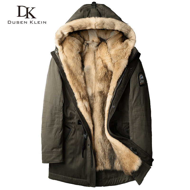 Wolf fur for men Thick jackets long coats Designer fashin travel to overcome the winter Warm