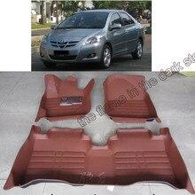 Бесплатная доставка кожа автомобиль коврик ковер коврик для toyota vios yaris 2007 2008 2009 2010 2011 2012 2013 Toyota белта