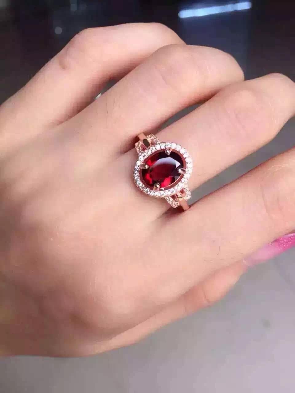 Natural red garnet gem Ring Natural gemstone ring 925 sterling silver trendy Elegant lovely bulb surround women party Jewelry цены онлайн