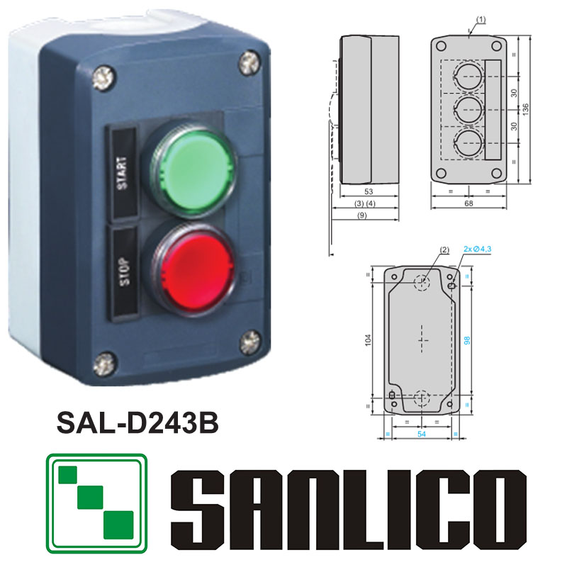 waterproof  control box push button switch station   SAL(LA68H-D XAL)-D243B 1 pushbutton with red LED another with green LED usb thermostat temperature control push button switch timer switch third gear with led light line 5v 2 5a