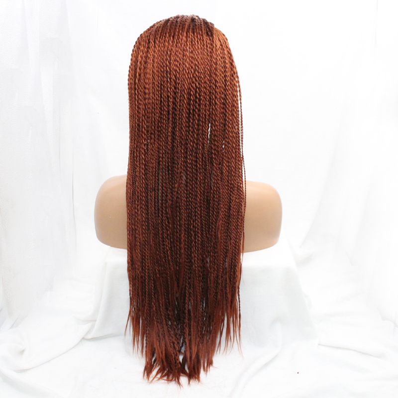 Heat Resistant Synthetic Hair 20inch Long Micro Braided Lace Front Wigs Glueless For African Americans Women In None From