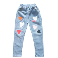 Children S Denim Clothing Girls Jeans Spring Autumn Long Trousers Heart Print Cute Pants Outfit For
