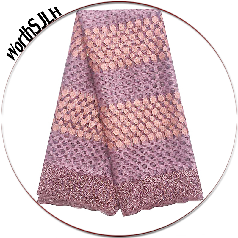 WorthSJLH Lilac African Lace Fabric 2018 High Quality Lace Swiss French Guipure Lace Fabric Gold Nigerian
