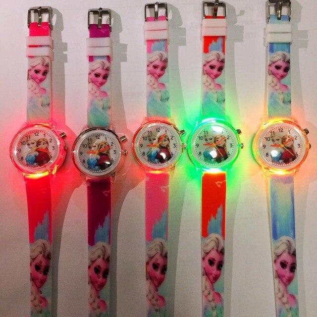 Children's Cartoon Watch Led Flash Quartz Watch Ice Snow Princess Silicone Girl'