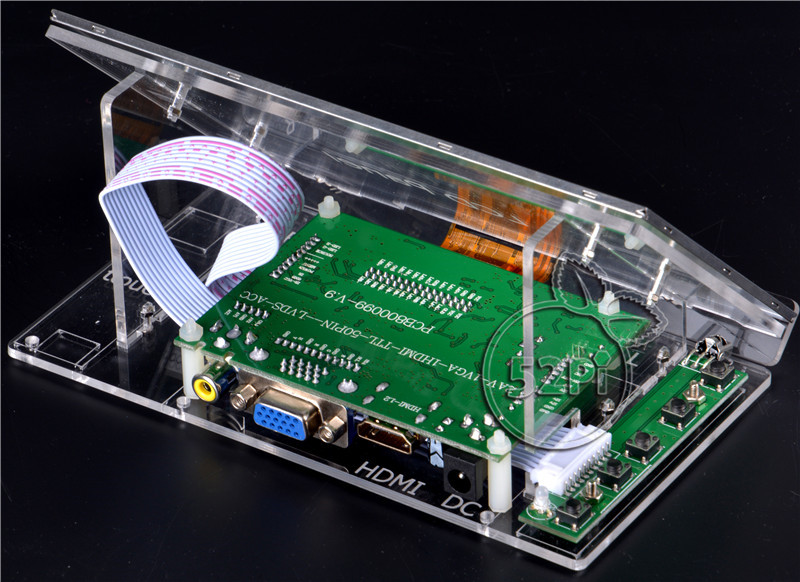52Pi Raspberry Pi 4 B Alle Plattform/PC 7 zoll 1024*600 LCD Display Monitor Bildschirm mit Fahrer board & Klar Acryl Halterung