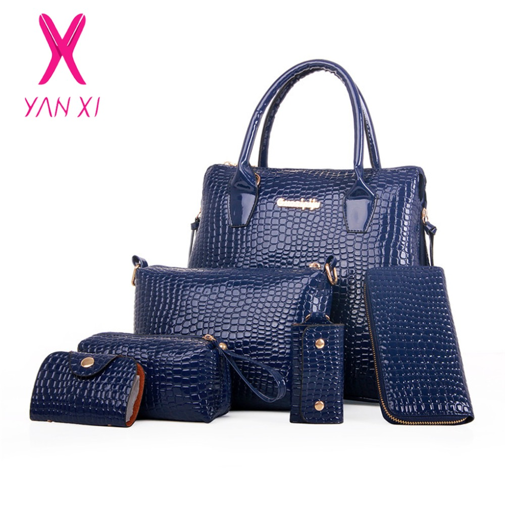 YANXI 6 in 1 Fashion luxury designer crocodile PU leather luxury women handbags designer composite bags brand Shoulderbag set composite bags 3 in 1 fashion luxury designer crocodile pu leather tote shoulder satchel messenger clutches brand handbags dt121