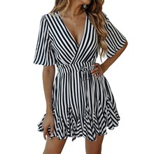 2019 Women Summer Fashion Vertical Striped Printed lace-up short sleeve Mini Dress V-neck Pleated Party Dresses open shoulder mini vertical striped dress