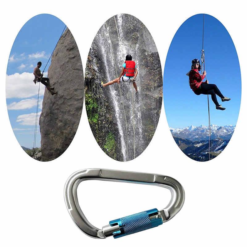 التلقائي قفل 25KN حلقة تسلق مصنوعة من الألومنيوم تسلق الصخور D-شكل مشبك ل أرجوحة اليوغا التخييم المشي لمسافات طويلة الرياضة في الهواء الطلق