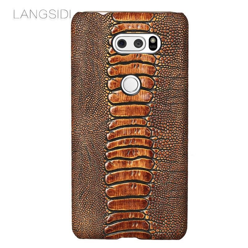 Luxe Véritable Cas de Téléphone En Cuir Pour LG G6 G5 G7 Q6 V30 Plus Cas D'autruche Pied Texture de Couverture Arrière