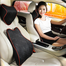 Memory Foam automobile Auto Car Neck Headrest Pillow Office Chair car lumbar back support pillow message cushion in black