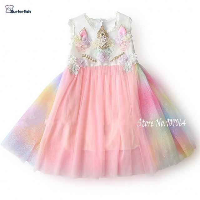 c3db1f4c1ac27 US $4.5 35% OFF|Surferfish Unicorn Girls Dress Rainbow Embroidery Toddler  Princess Wedding birthday Party dress Valentine's Day Dress Costume -in ...