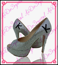 Aidocrystal white shiny crystal fashion shoes custom English letters peep toe shoe for woman