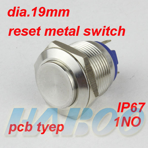 HABOO 1PCS sale high head & pcb type 19mm 1NO electrical switch anti-vandal metal push button switch waterproof shipping free