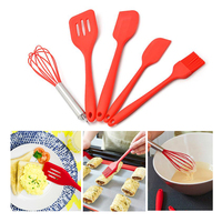 5 pieces Baking Tool set red silicone scraper egg beater kitchen baking egg tool silicone kitchenware cooking Accessories