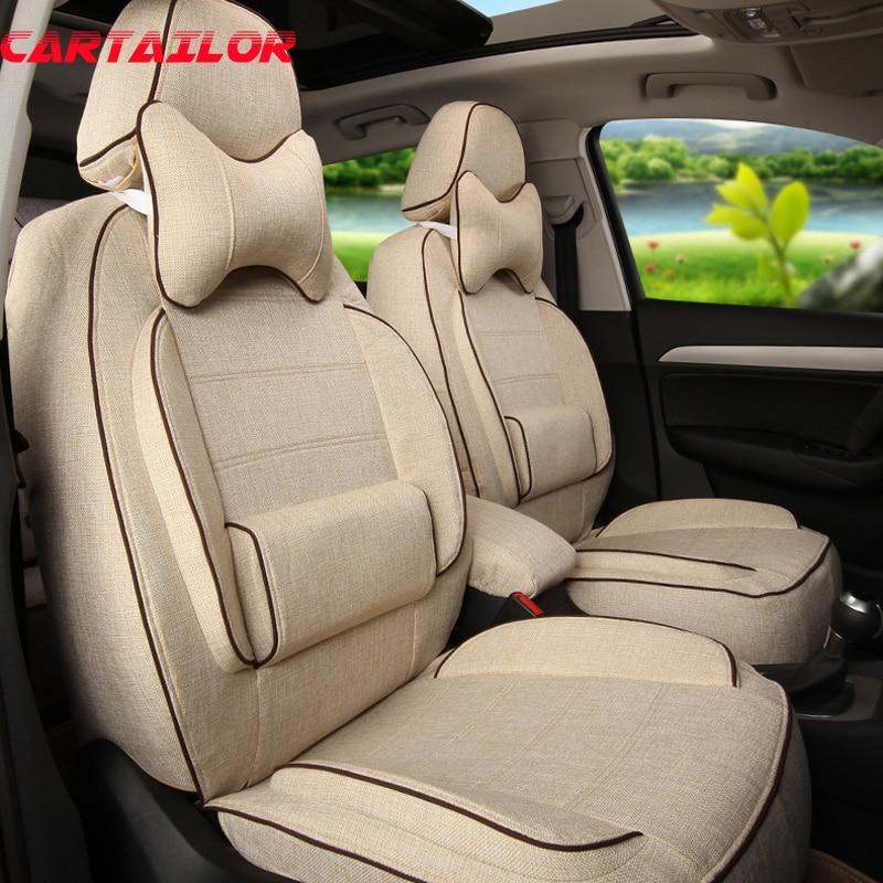 Asientos de cubierta delantera y trasera de CARTAILOR para Volvo XC60 funda de asiento de coche de tela de lino Fundas de cojín de coche bolsa de aire negro Auto asiento Protector