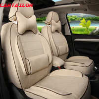 CARTAILOR Front & Rear Cover Seats for Volvo XC60 Car Seat Cover Linen Cloth Car Cushion Covers Airbag Black Auto Seat Protector